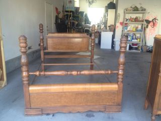Bed Frames - Antique Full Headboard And Footboard In Dark Wood Tones photo
