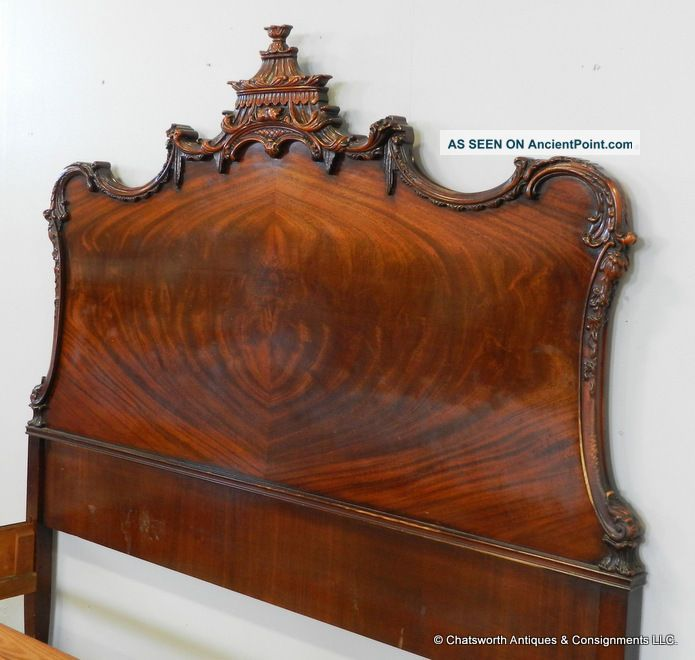 Chinese Chippendale Bed : ... 1930s Flame Mahogany Chinese Chippendale Pagoda Carved Full Double Bed