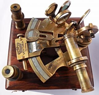 2 Lenses Vintage Style German Brass Sextant With Patina Antique. photo