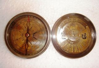 Vintage Brass Compass Watch Magnetic Nautical Decor Pirate Compass W Calendar photo