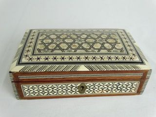 Lovely Detailed Marquetry Mother Of Pearl Inlayed Box Ceylon Mid 20thc photo