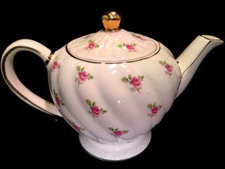 Vintage Sadler Pink Floral Rose Bud Swirl Tea Pot With Lid England 1573/1593 photo