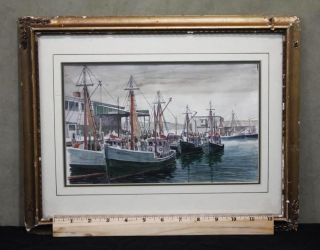 Small Antique Rockport School Boat Harbor Watercolor Paintings Signed Spencer photo