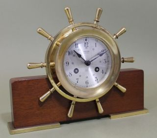 Vintage German Salem 8 - Day Jeweled Ships Bell Wheel Clock W/ Wood Stand photo