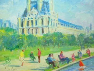 Homage To Cortes Paris Painting Of Les Tuileries By Listed American Artist Nr photo