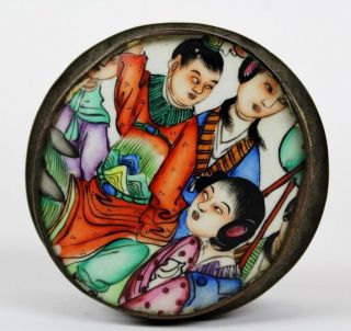Vintage Chinese Export Figural Enameled Porcelain Pot Shard Trinket Box Nr Lcc photo