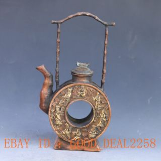 Chinese Brass Gilt Handwork Carved Eight Immortals Tea Pot W Qing Dynasty Mark photo