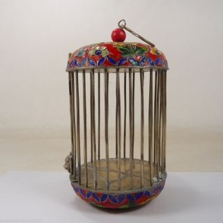 Collectable China Handwork Old Cloisonné Copper Cricket Cage Paint Flower photo
