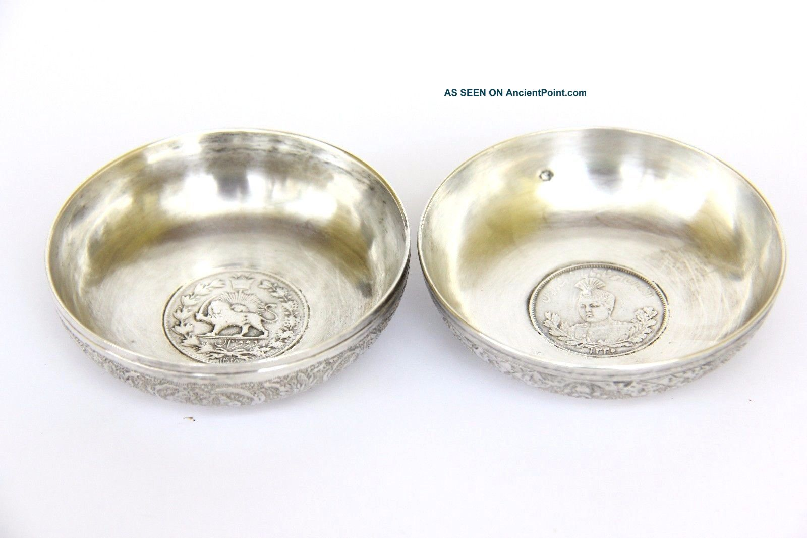 Antique Pair Persian Islamic Solid Silver Wine Taster Dinar Coin Bowls Dish 104g Middle East photo