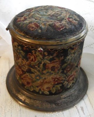 Victorian Vintage Metal Sewing Needle Case Box W Hinged Lid Petit Point Flowers - photo