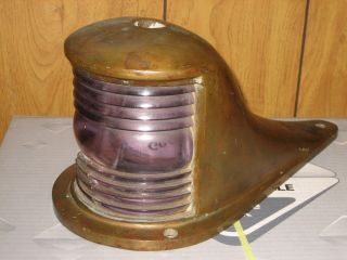 1910s/20s Large Brass Perko Chris - Craft Boat Deck Light - Sun Purple Glass - 3day Nr - photo