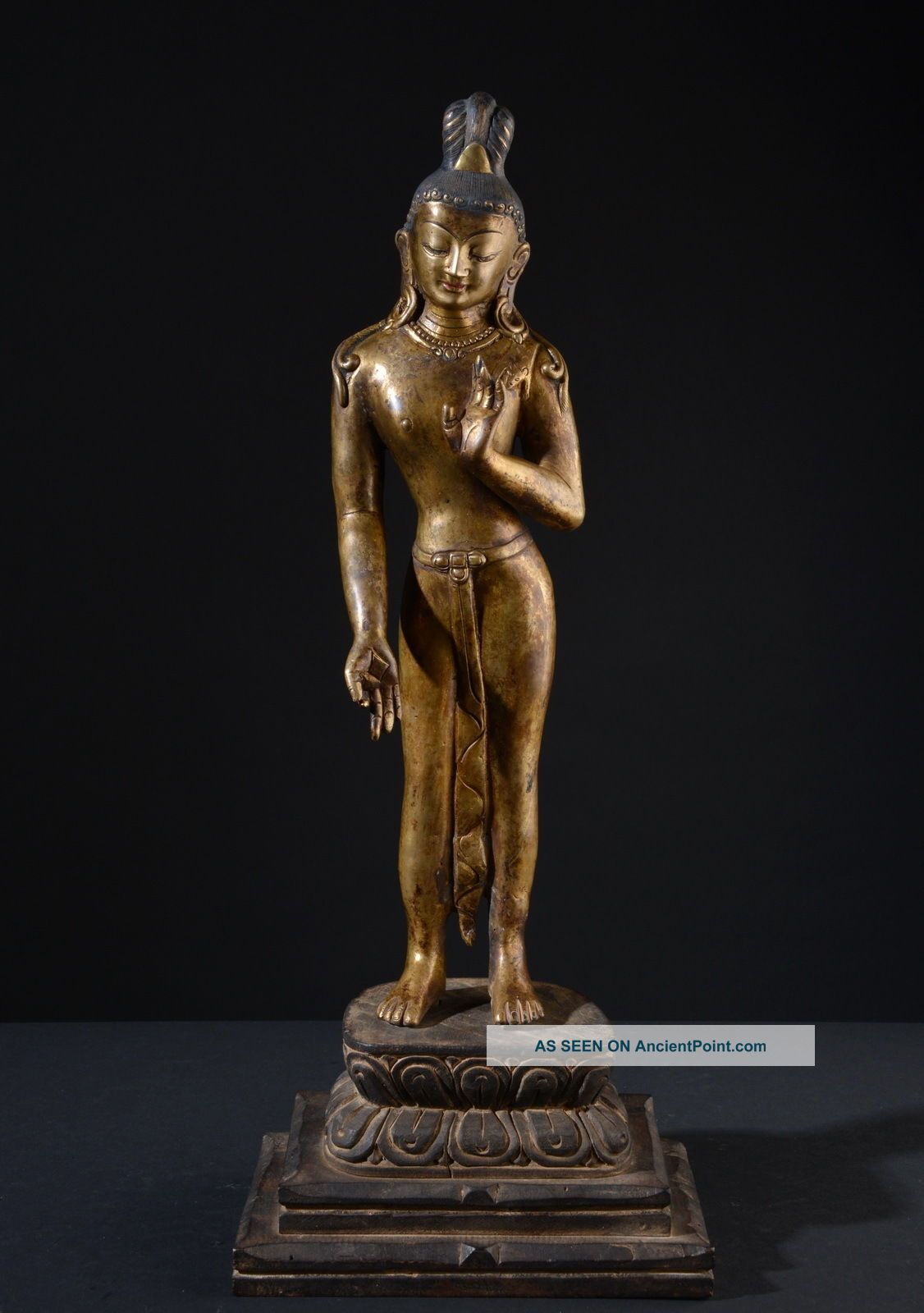 Standing Bodhisattva Lokeshvara.  Impressive,  Tall Statue,  Gilded.  (buddha) Buddha photo