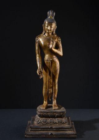 Standing Bodhisattva Lokeshvara.  Impressive,  Tall Statue,  Gilded.  (buddha) photo