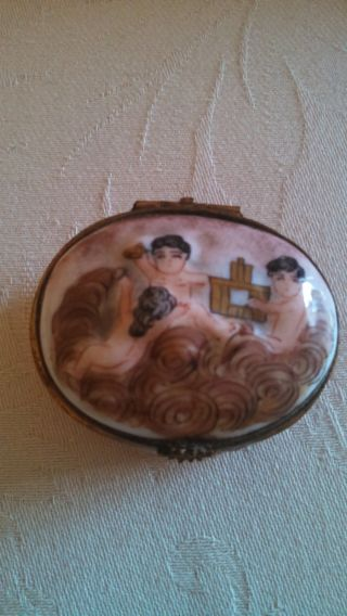 Porcelain Trinket Box Marked France.  Unusual With Cherubs/babies? photo