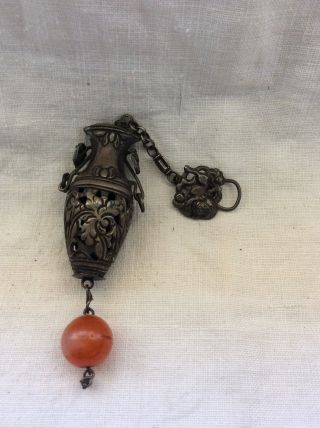 19th C.  Chinese Silver & Carnelian Bead Needle Pierced Case photo
