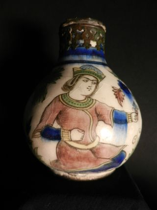 Persian Qajar Safavid Pottery Flask Pre 18th C photo