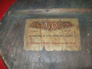 Lg.  Rare Vintage Bellows Fireplace Osborn Cyclone Rustic Primitive 1920 ' S photo