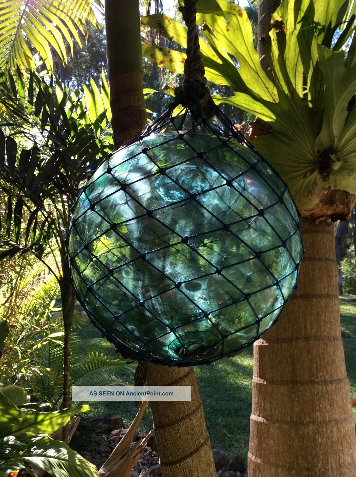 Large Japanese Glass Fishing Float In Netting & With Factory Trademark Other photo