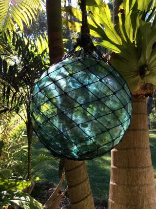 Large Japanese Glass Fishing Float In Netting & With Factory Trademark photo