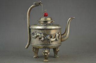 Collectible Decoration Miao Silver Carving Dragon Head & Le0pard Usable Tea Pot photo