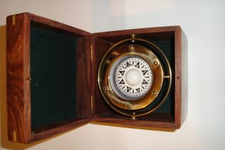 Solid Brass Collectable Large Gimble Ship Compass With Wooden Box (cz) photo