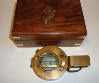 Solid Brass Nautical Collectable Prismatic Engineer Compass,  Wood Box (co582) photo