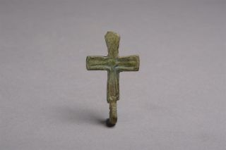 Medieval Viking Dark Age Bronze Cross Pendant / Reliquary Attachment - 900 Ad photo