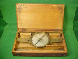 Old Antique Early To Mid 19th Century Brass Cased Surveyors Nautical Compass - photo