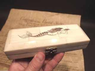 Antique Style Folk Art Mermaid Scrimshaw Bone & Wood Trinket Stamp Jewelry Box photo