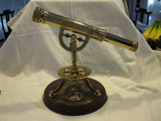 Antique Extendable Removable Brass Telescope On Wooden Base photo