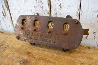Antique Embossed Bundle Counter For Threshing Machine Old Vintage Farm Tool photo
