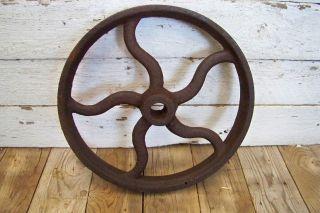 Antique Cast Iron Flywheel Pulley Wheel Vtg Industrial Steampunk Hit Miss Part photo