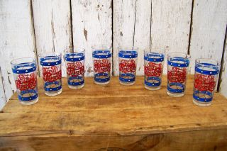 8 Vintage Pepsi Cola Drinking Glass Tumblers Tiffany Stained Glass Style photo