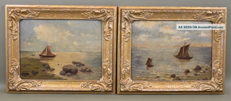 2 Antique Early 20thc Canadian Maritime Sailboat Seascape Oil Paintings Other photo