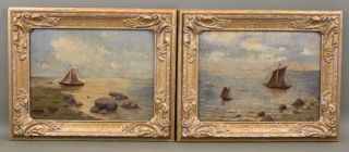 2 Antique Early 20thc Canadian Maritime Sailboat Seascape Oil Paintings photo