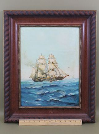 Vintage Humbero Fernandes 19thc Military Gunship Steamship Maritime Oil Painting photo