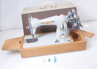 Antique / Vintage Seamstress Hand Crank Sewing Machine W/bed Extension photo