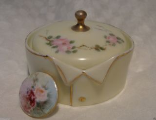 Antique Germany Hand Painted Porcelain Stud Collar Button Box/button German - photo