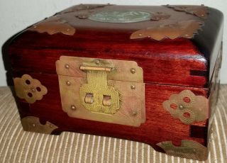 Vintage Chinese Shanghai China Rosewood Brass Carved Jade Jewelry Box photo