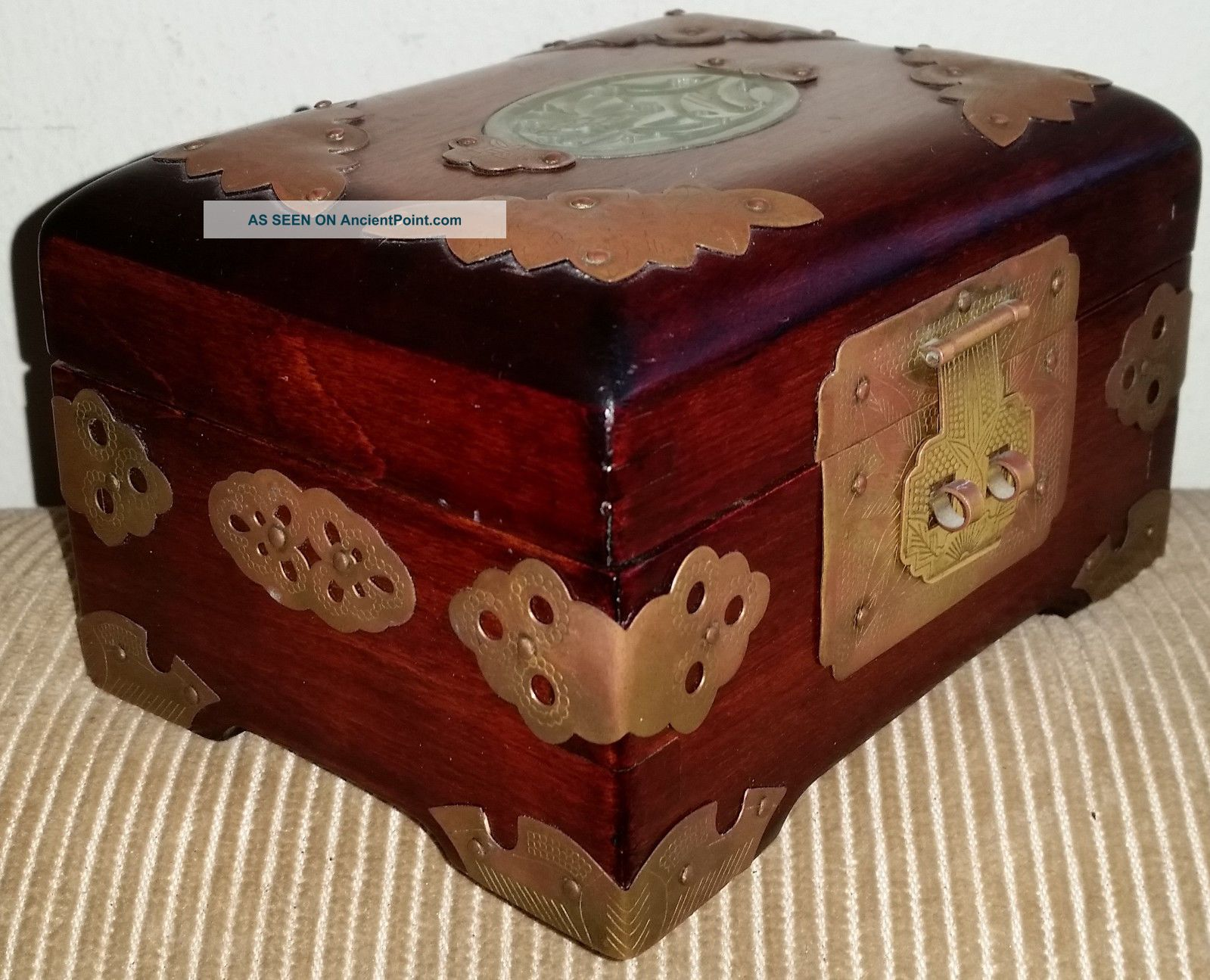 Vintage Chinese Shanghai China Rosewood Brass Carved Jade Jewelry Box
