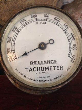 Vintage Reliance Machinest Tachometer.  Porcelain Dial.  Boston Ma photo