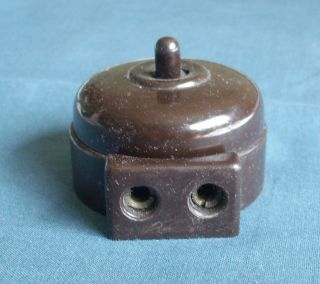 Vintage Industrial Bakelite Light Switch With 2 Pin Mains Plug Socket - 2 Gang photo