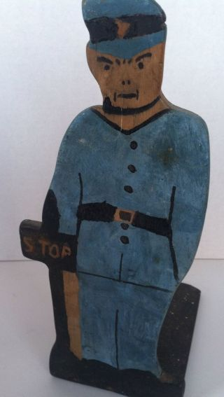 Vintage Primative Folk Art Wood Cut Out Police Officer Doorstop Stop Sign photo