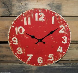 Barn Red Wall Clock Vintage School Farmhouse Style Primitive/french Country photo