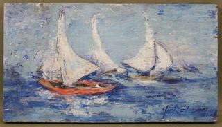 James Mickelson Rockport Sailboat Maritime Seascape Oil Painting photo