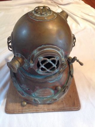 Vintage Mark V Model 1 Diving Helmet Us Navy On Wood Stand photo