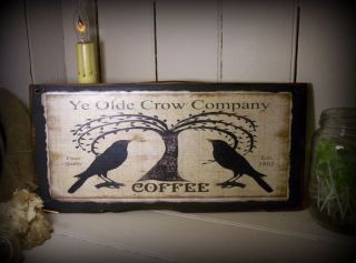 Primitive Antique Vintage Old Style Wood Sign - Ye Olde Crow Coffee Advertising photo