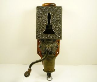Antique Arcade Bell Coffee Grinder Wall Mount Mill Restored Vintage - photo