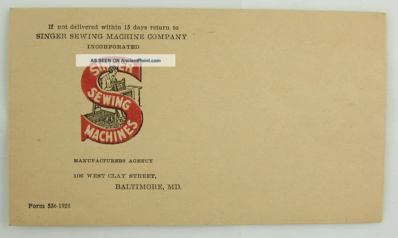 Vintage Singer Sewing Machines Adv Envelope Baltimore Md Maryland Other photo