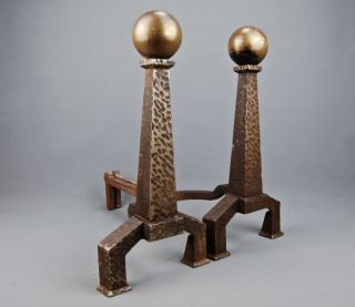 Arts & Crafts Mission Hammered Cast Iron & Brass Ball Fireplace Andirons Boston photo